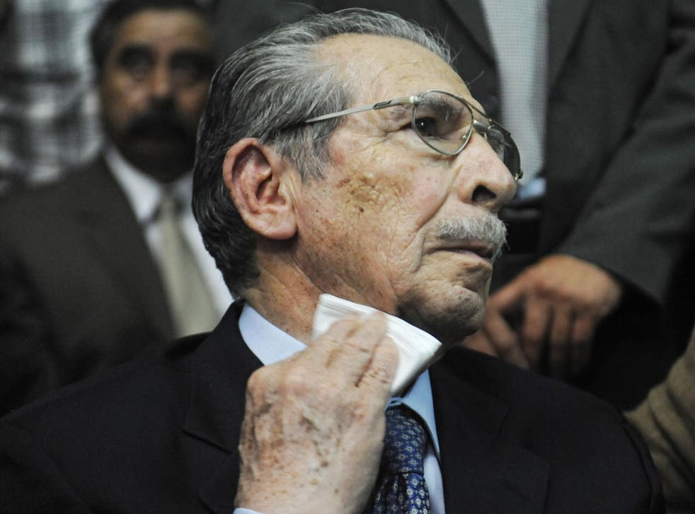 Former Guatemalan de facto President Jose Efrain Rios Montt listening to his sentence on charges of genocide