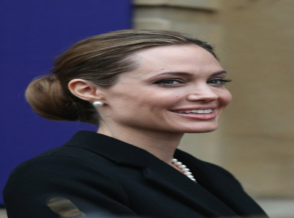 Angelina Jolie during the G8 Meeting which she attended with William Hague in April