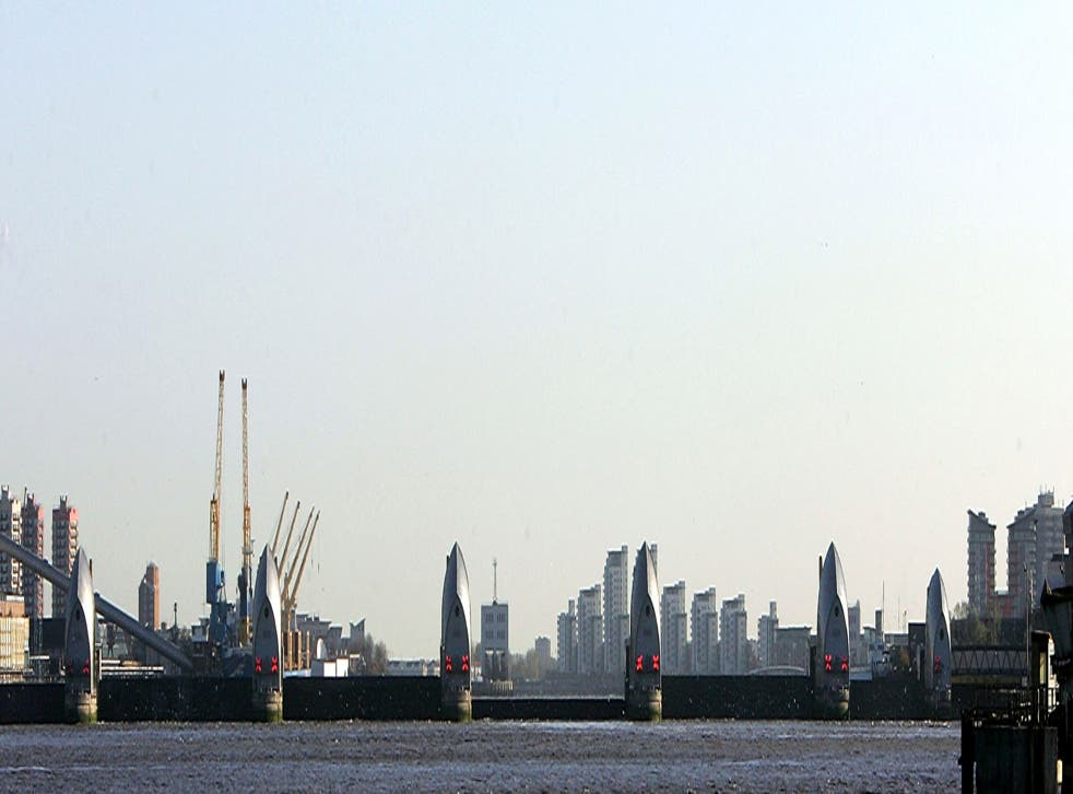The Thames barrier raised in 2007 in response to a flood threat