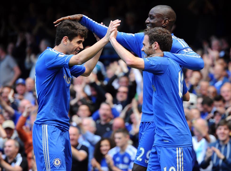Juan Mata celebrates after opening the scoring at Stamford Bridge