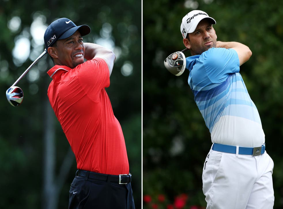 Tiger Woods (L) was the victim of a racial joke made by Sergio Garcia (R)