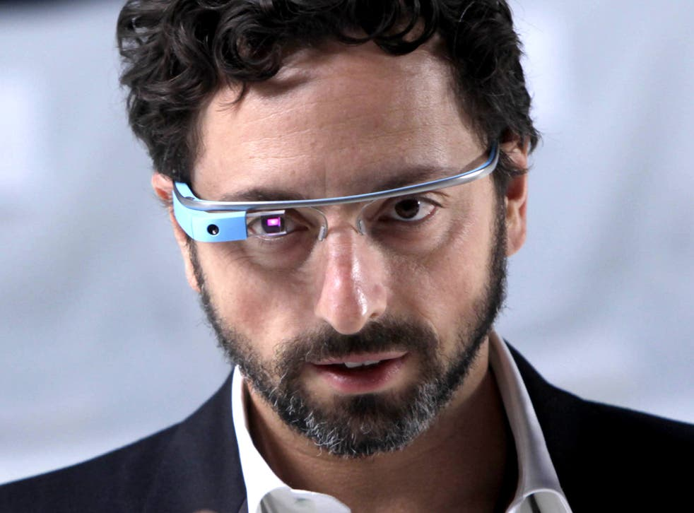 Google co-founder Sergey Brin demonstrates Google Glass