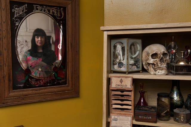 Caitlin Doughty in her home: 'It's like a little death art museum,' says the mortician