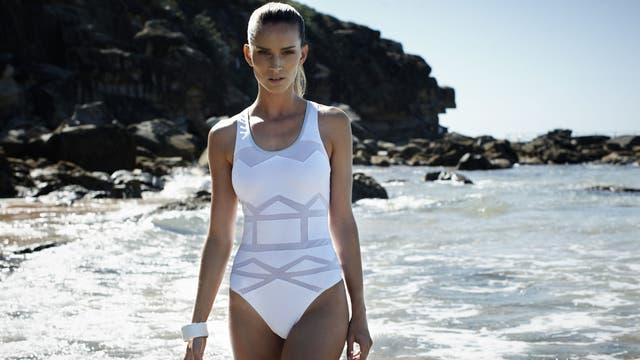 Mesh swimsuit, £35, by River Island, riverisland.com; bangle with gold edge, £9.99, by Mango, mango.com