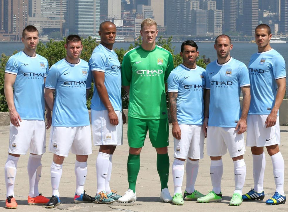 City players model the new kit in front of the New York skyline