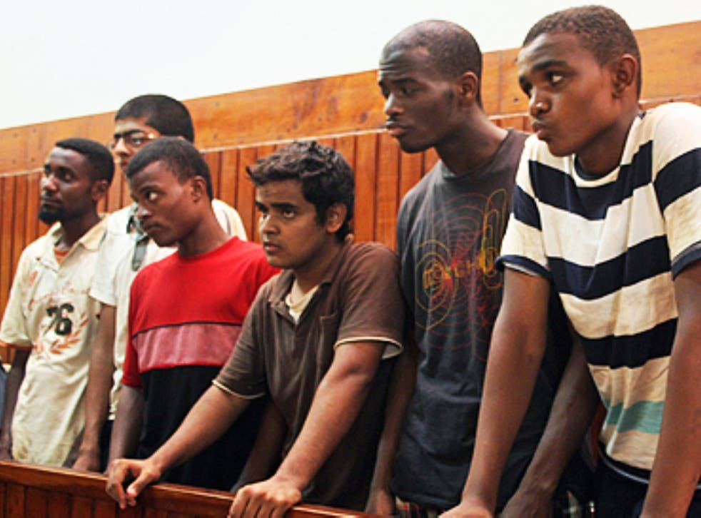 Michael Adebolajo, fifth from left, was arrested by Kenyan police in 2010