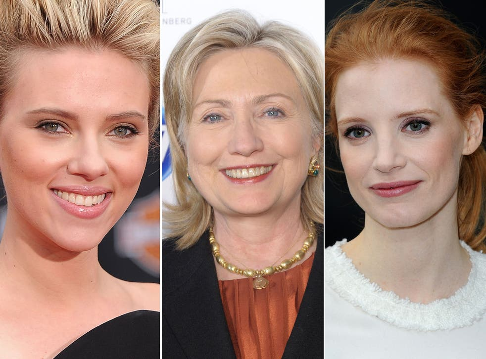 Scarlett Johansson (left) and Jessica Chastain (right) are in the running to portray Hillary Clinton (centre) in an upcoming film