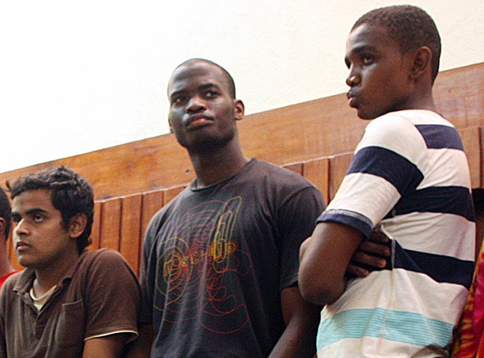 Michael Adebolajo, centre, was one of seven men arrested by Kenyan police on an island close to the Somali border