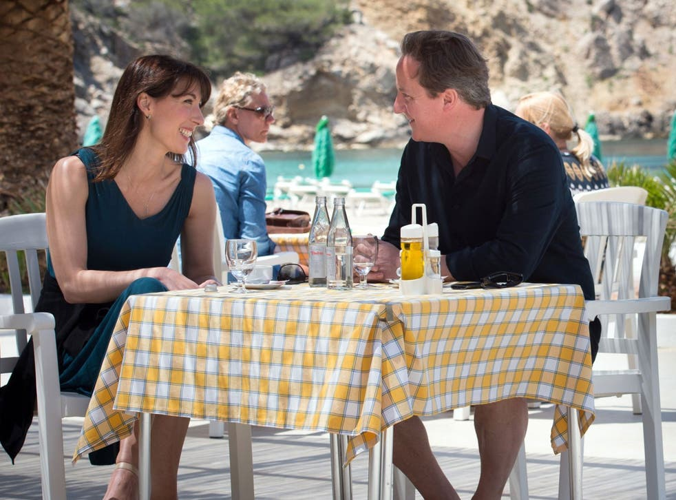 David Cameron and his wife on holiday