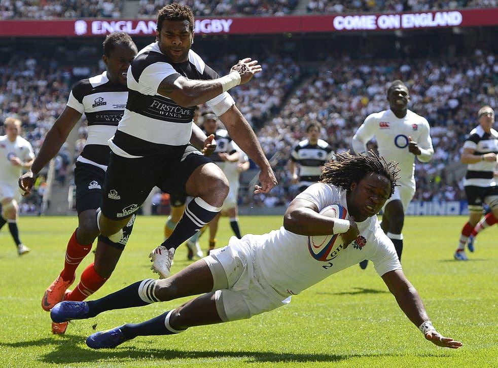 London Irish's Marland Yarde scores against the Barbarians