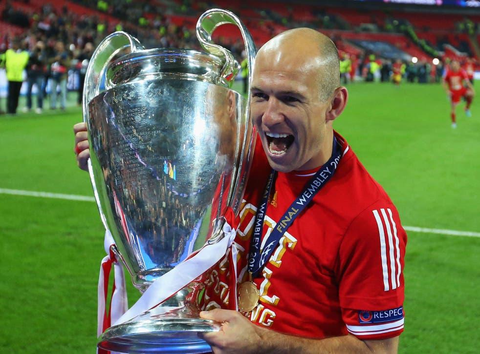 Arjen Robben celebrates winning the Champions League