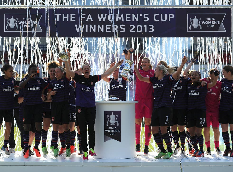 Arsenal Ladies celebrate winning the FA Women's Cup