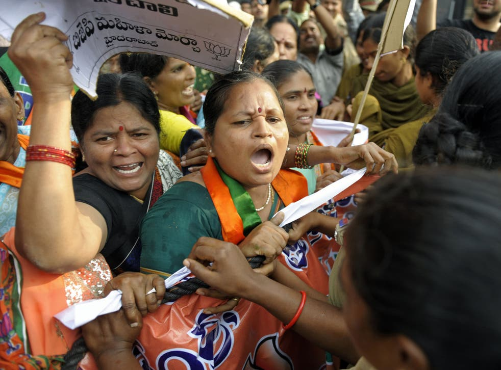 Indian women's rights activists protest in Hyderabad in March following the rape of a five-year-old girl