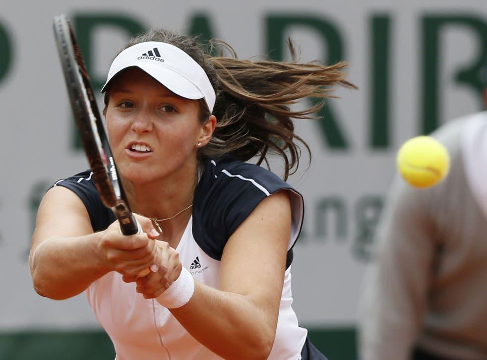 Laura Robson returns to eventual winner Caroline Wozniacki