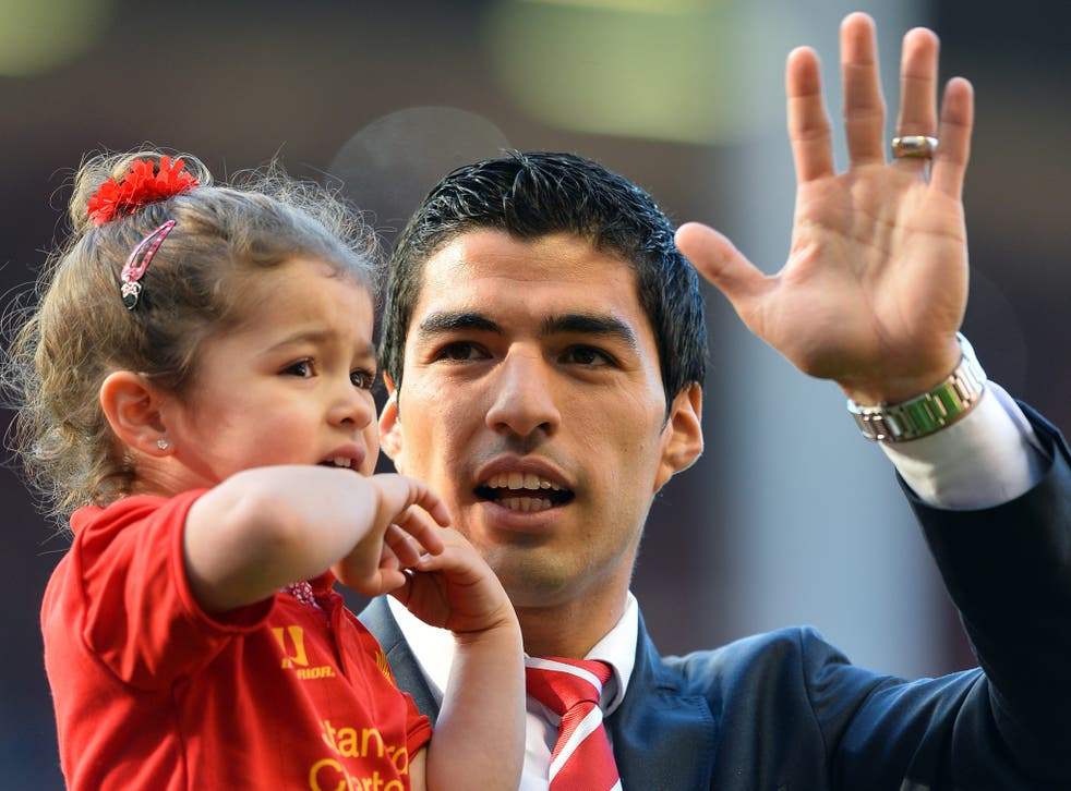 Luis Suarez pictured at Anfield on the last day of the season