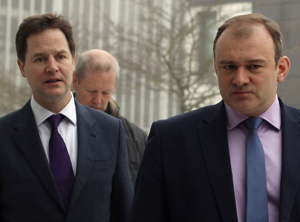 Deputy Prime Minister Nick Clegg (L) and the newly appointed energy secretary Ed Davey (R) visit BRE (Building Research Establishment) on February 6, 2012 in Watford, England.