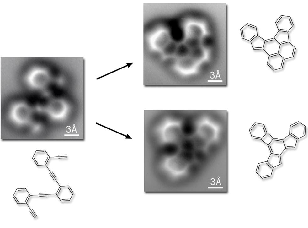 New images, of a molecule rearranging its bonds at a single-atom resolution, captured by scientists at the Lawrence Berkeley National Laboratory in California