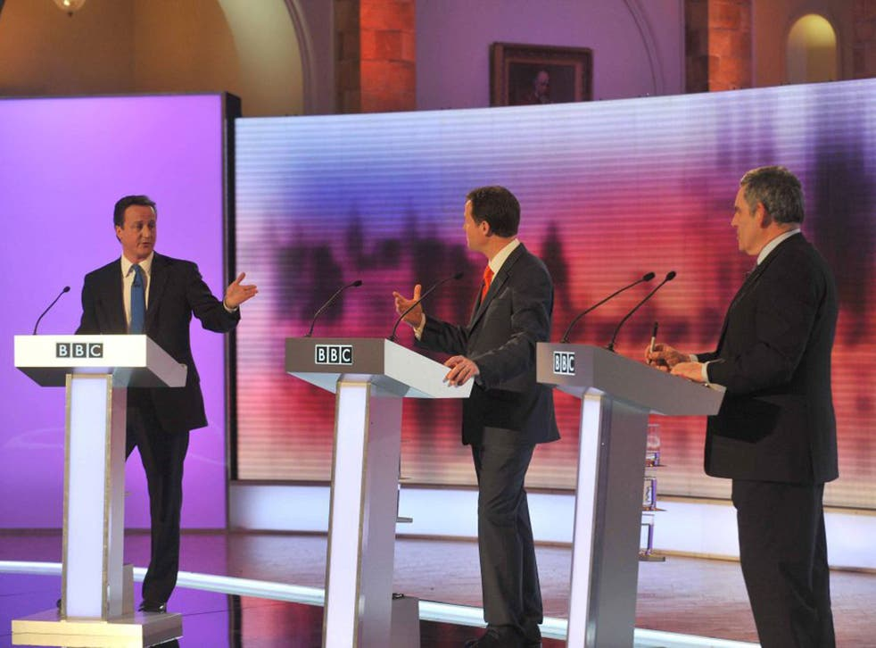 David Cameron, Nick Clegg and Gordon Brown during the TV debate in 2010