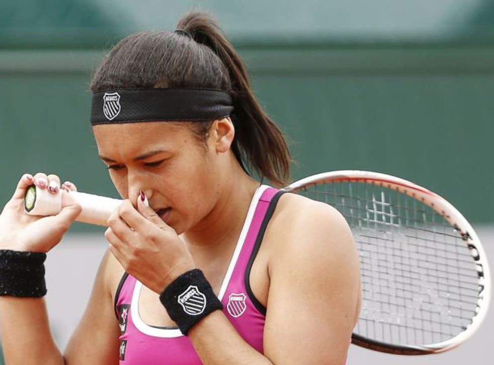 Heather Watson on her way to defeat at the French Open