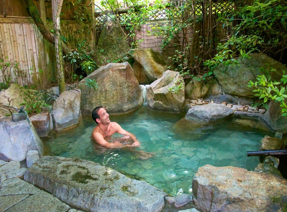 Water therapy: The writer in an onsen