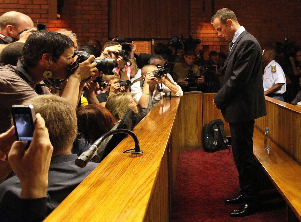 Oscar Pistorius at his bail hearing in February