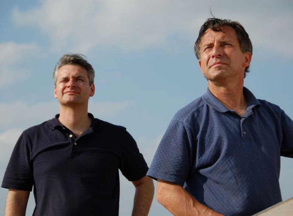 Carl Young and Tim Samaras watching the sky.
