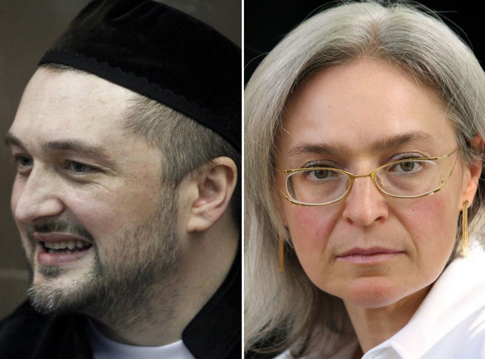 More than six years after Politkovskaya (right) was shot at her Moscow apartment building, Rustam Makhmudov (left), the suspected killer, two of his brothers and two other defendants, including his uncle, face murder charges for the second time