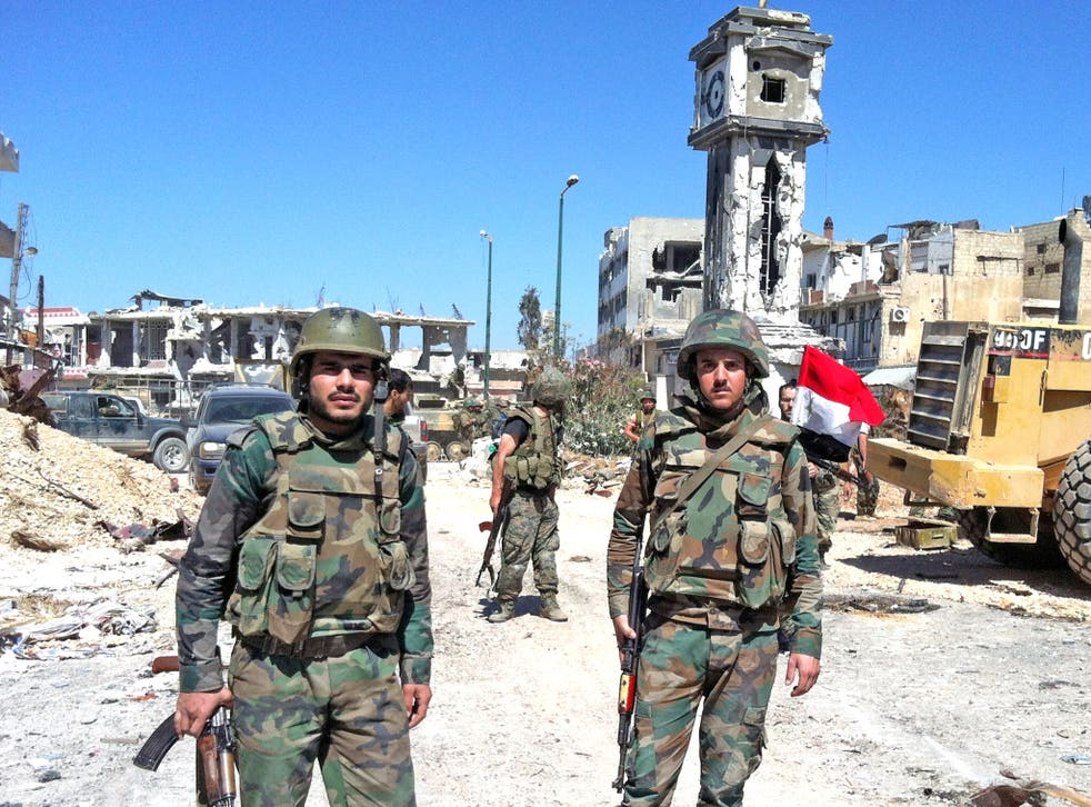 Syrian government soldiers in Qusayr