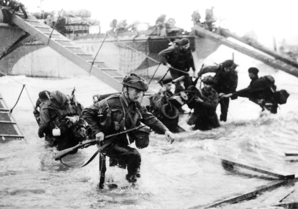 Troops From The 48th Royal Marines On Juno Beach Normandy During D