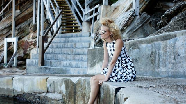 Silk organza dress, £1,025, by Marni, 26 Sloane Street, London SW1, 020-7245 9520; shoes, £350, by Dolce & Gabbana, 6-8 Old Bond Street, London W1, 020-7659 9000; sunglasses, £32, by Mink Pink, urbanoutfitters.co.uk