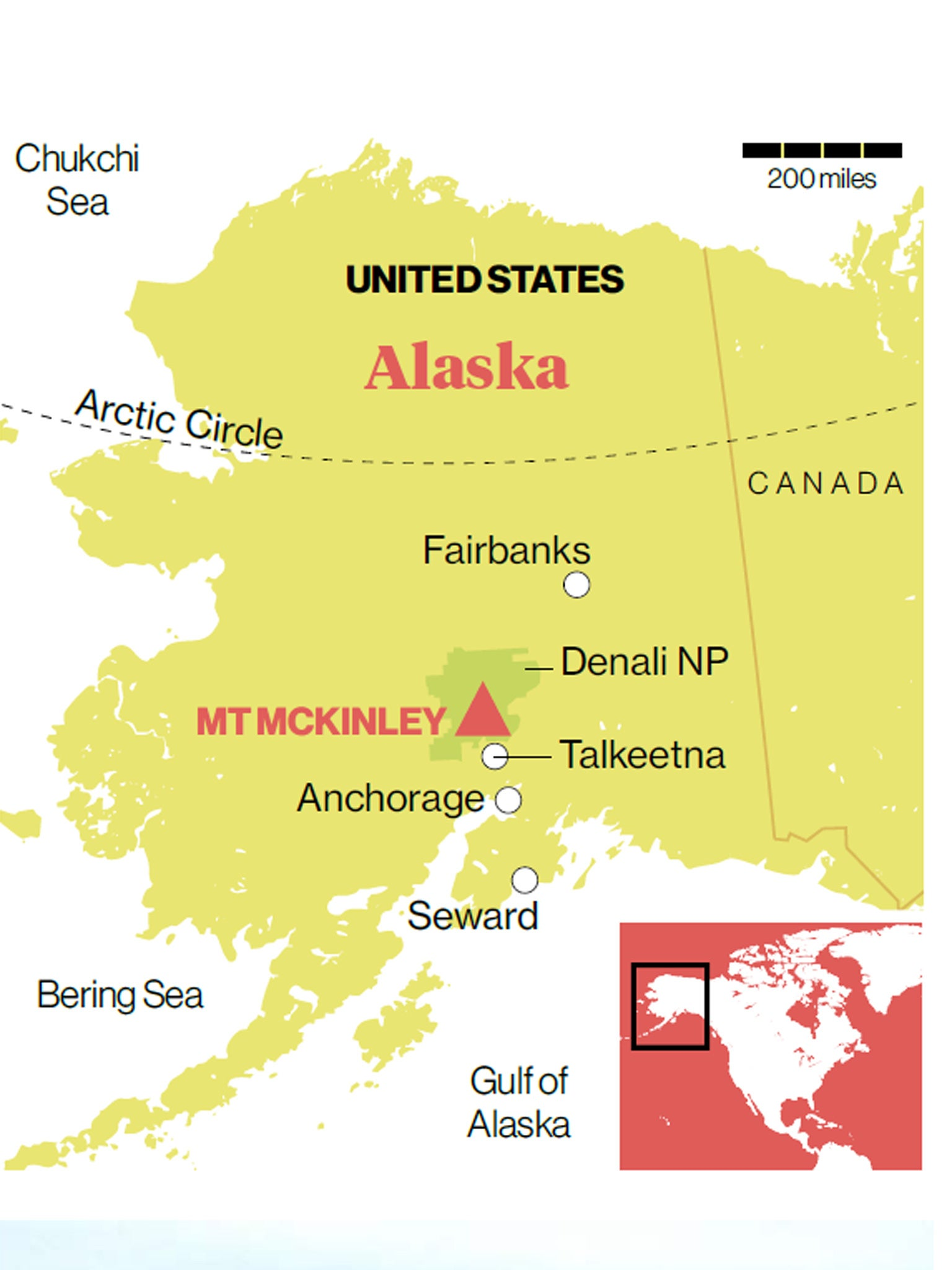 Alaska Up On The Roof Of A Continent The Independent - Mt-mckinley-on-us-map