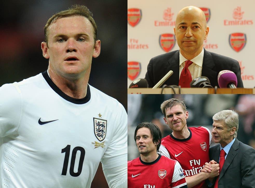 Wayne Rooney, Ivan Gazidis and Arsene Wenger