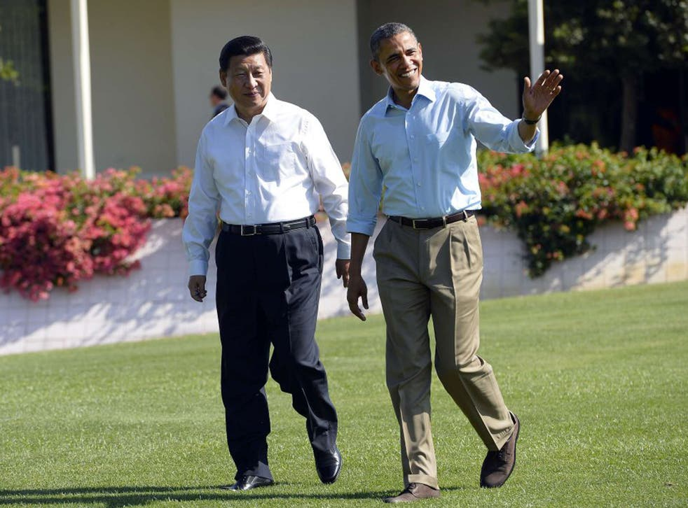 8 June 2013: US President Barack Obama, right, and Chinese President Xi Jinping at the Annenberg Retreat at Sunnylands in Rancho Mirage, California where they were finishing their summit