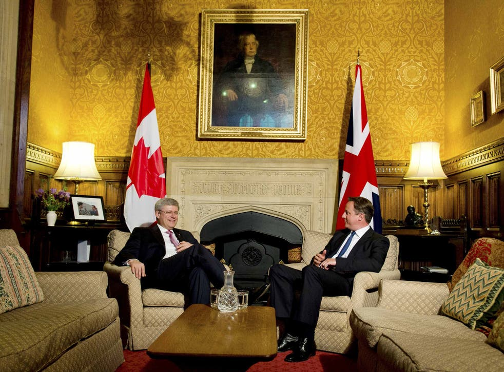 David Cameron with Stephen Harper following his address to both House of Parliament