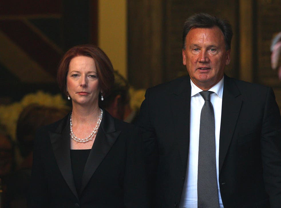 Australian Prime Minister Julia Gillard with her partner Tim Mathieson