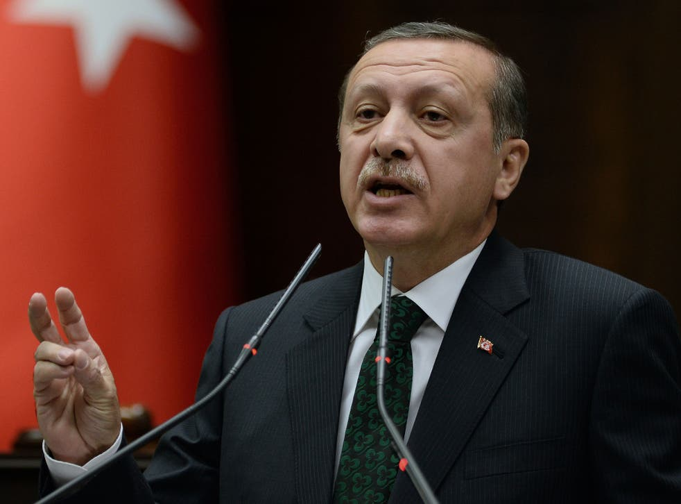 Turkey's prime minister addressing supporters last week