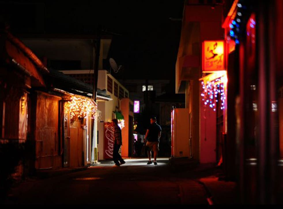 Business is slow in Okinawa's biggest red-light district