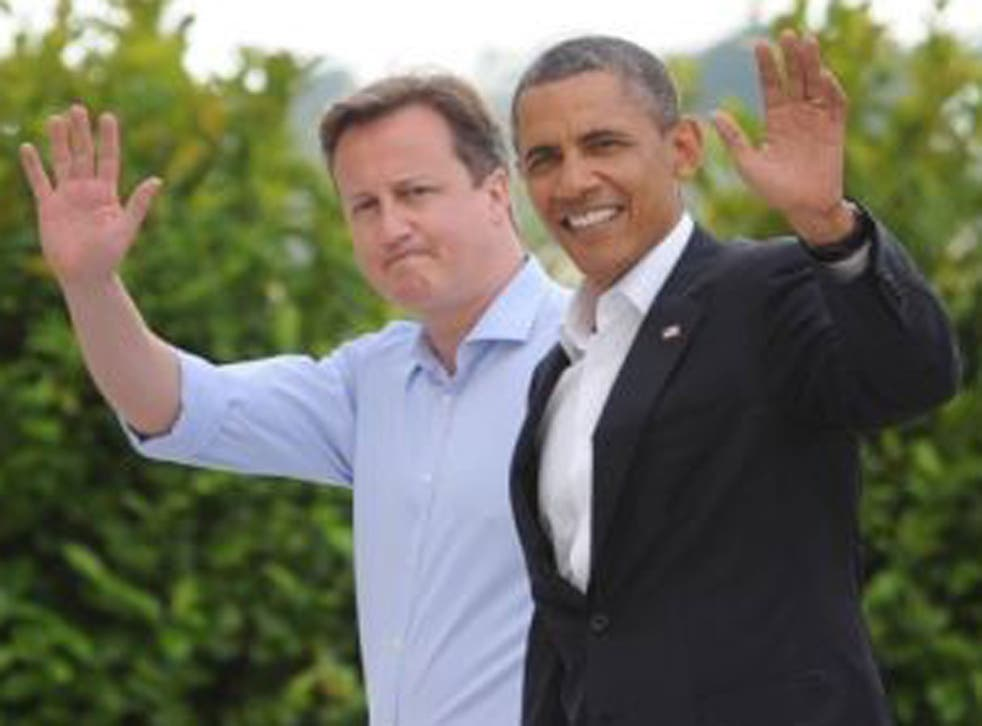 David Cameron (left) welcomes Barack Obama (right) to the G8 summit in Northern Ireland