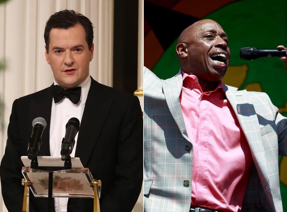 Chancellor of the Exchequer George Osborne (left) and r&b singer Jeffrey Osborne