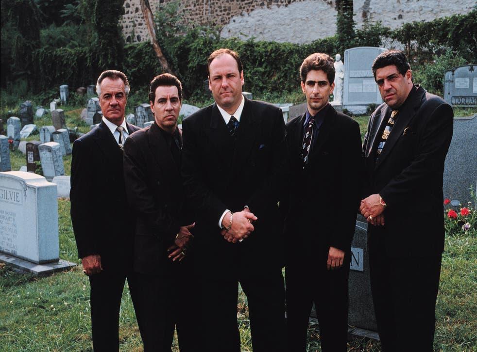 James Gandolfini (centre) as Tony Soprano, with his co-stars Tony Sirico, Steve Van Zandt, Michael Imperioli and Vincent Pastore