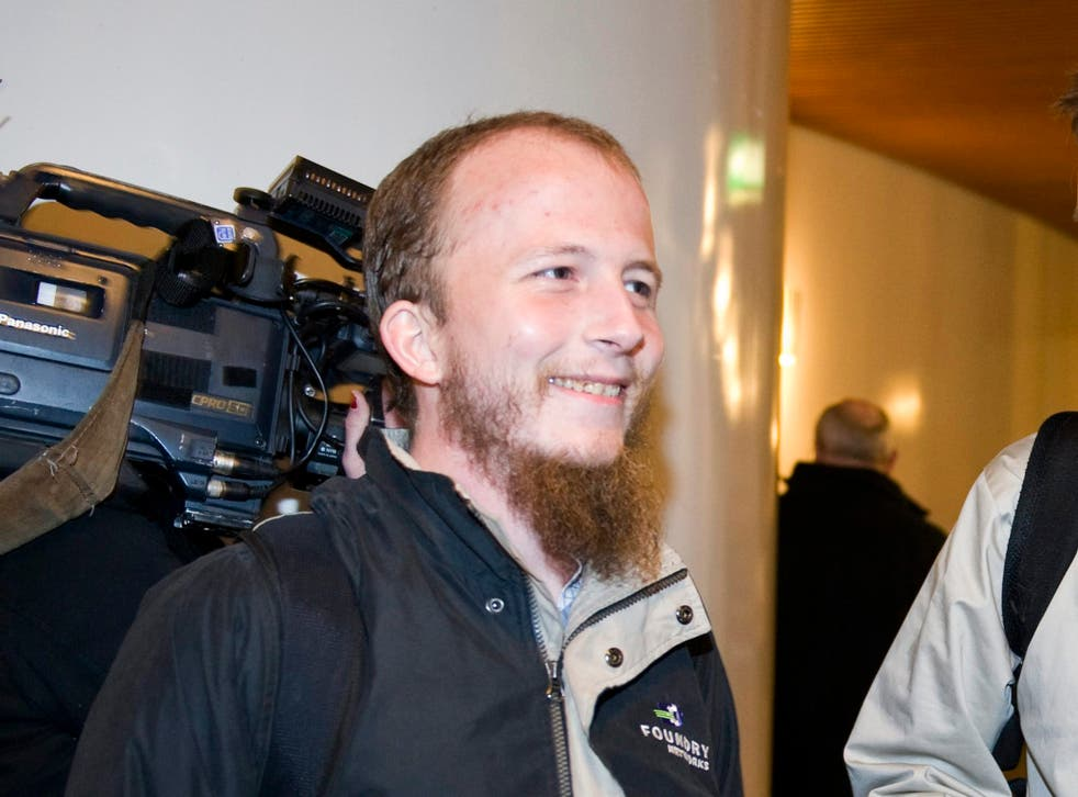 Gottfrid Svartholm Warg, the co-founder of Pirate bay, is pictured in Stockholm, February 16, 2009. Warg, a 27-year-old Swede and co-owner of the world's biggest free file-sharing websites, arrived in Sweden under escort on September 11, 2012 to begin a o