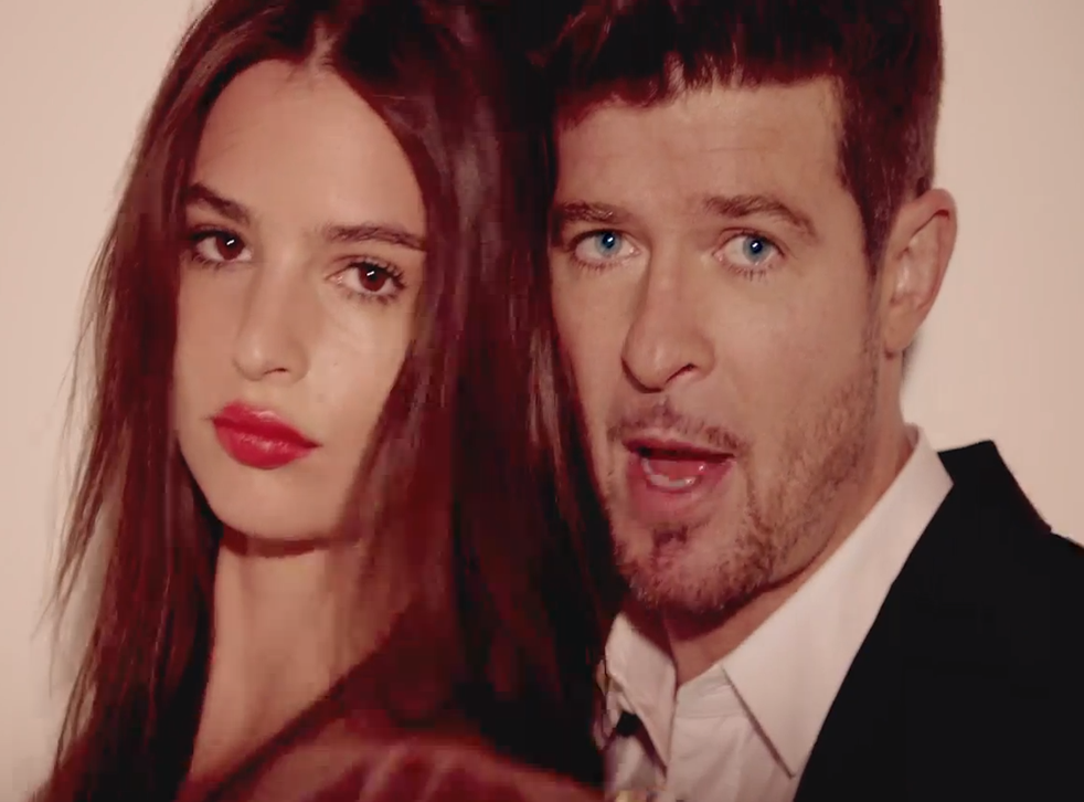 """A screenshot from the video for """"Blurred Lines"""": the singer said he """"wanted some of the credit"""""""