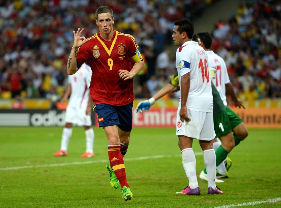 Fernando Torres celebrates one of his four goals against Tahiti