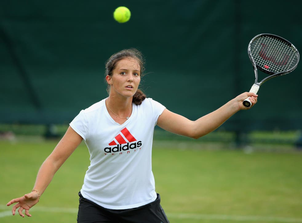 Laura Robson of Great Britain in a practice session during previews for Wimbledon Championships at Wimbledon