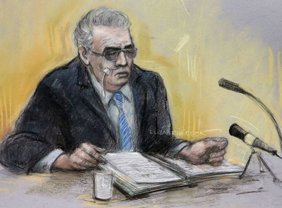 Court artist sketch by Elizabeth Cook of moors murderer Ian Brady appearing via video link at Manchester Civil Justice Centre