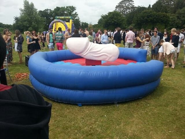 The penis-shaped bucking bronco from this year's Wyverns garden party