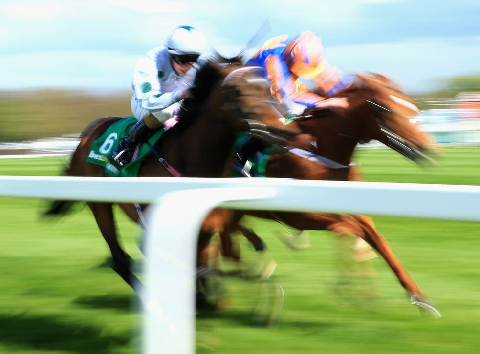 Sugar Boy (left) wins the Sandown Classic Trial in April from Eye Of The Storm. The subsequent second and third in the Derby, Libertarian and Galileo Rock, were well beaten
