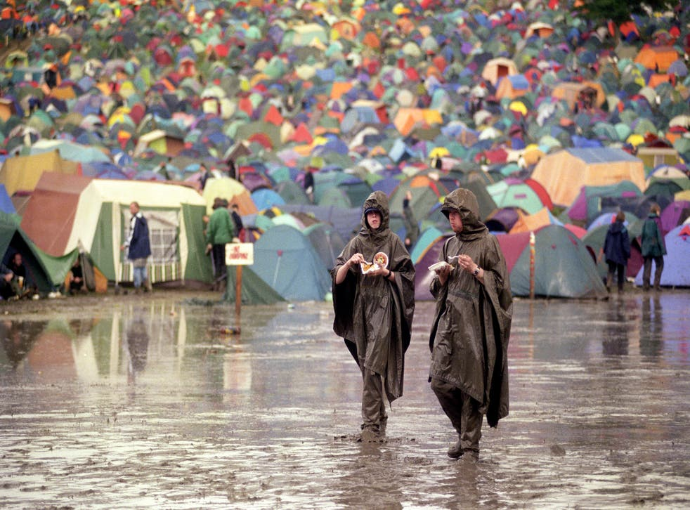 A sign of things to come? A rain drenched Glastonbury in 1998
