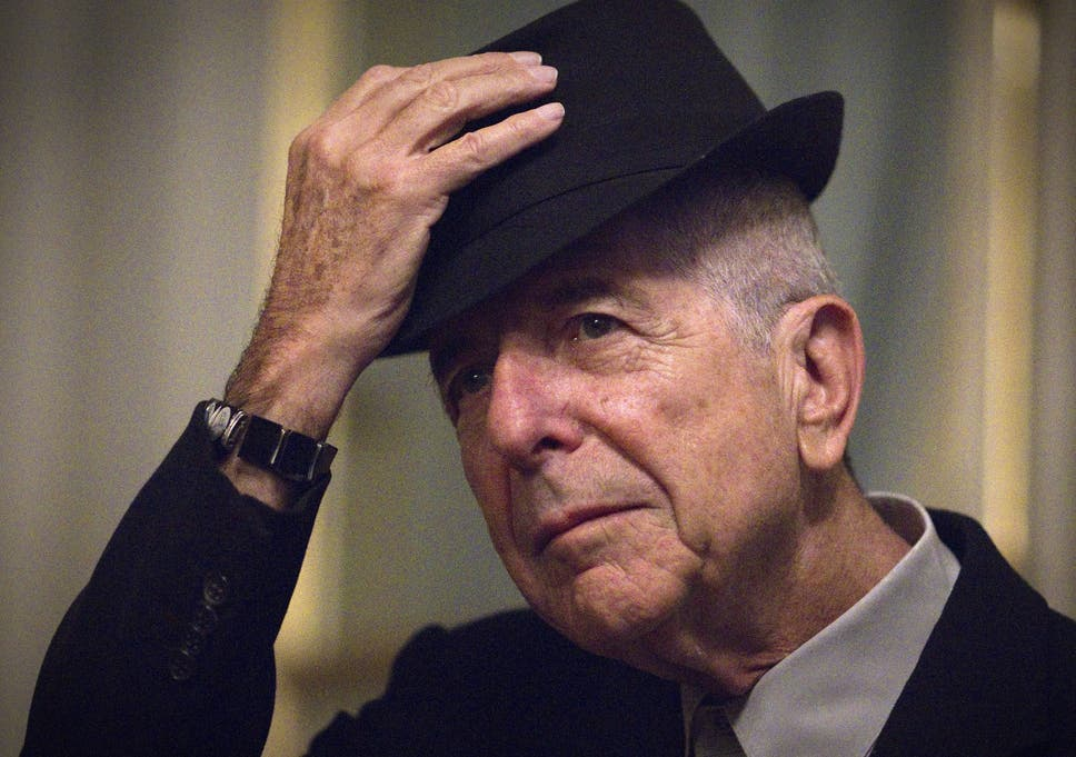 Canadian singer and poet Leonard Cohen takes off his hat to salute on  January 16 6a335bc92f8