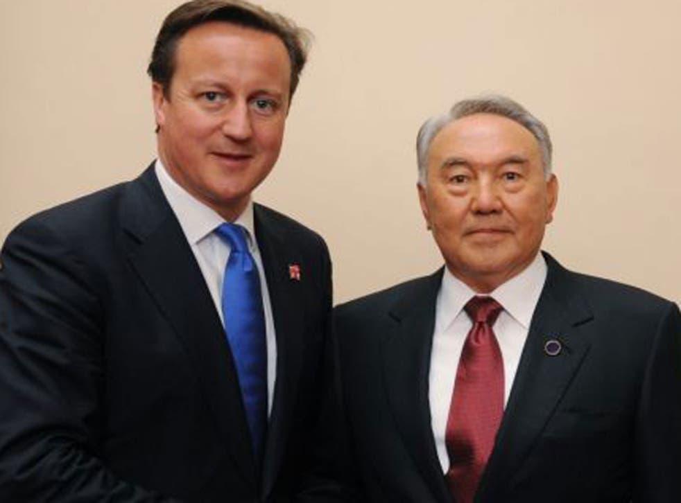 David Cameron shaking hands with the President of Kazakhstan Nursultan Nazarbayev